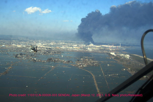 View of Japan earthquake and tsunami disaster from a US military helicopter