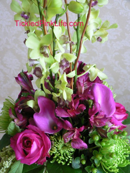 Tickled Pink Life floral design mock-up-orchids callas, mums, roses
