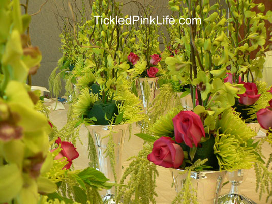 table arrangement preparation-inserting roses