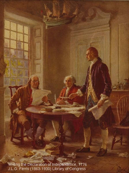 Historical painting of the writing of the Declaration of Independence-Library of Congress