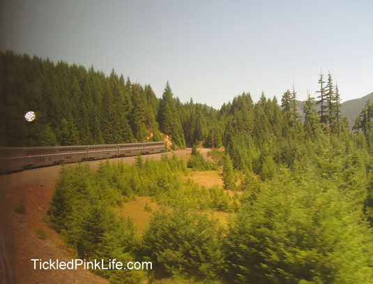 Traveling by train on Amtrak making mountain turn
