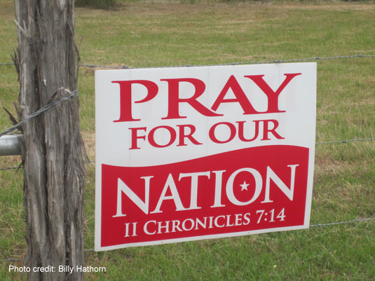 Yard sign Pray for our Nation citing 2 Chronicles 7:14