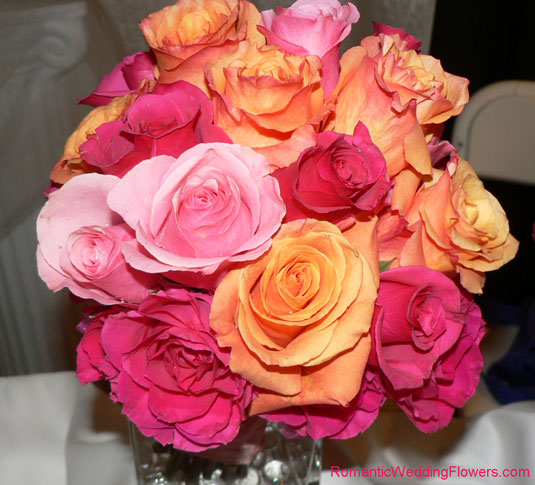 Hot pink and orange rose bouquet