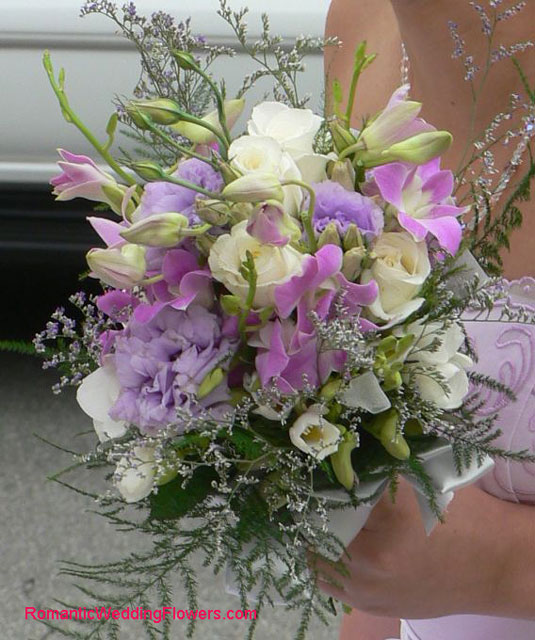 lisianthus and orchid bridesmaid bouquet