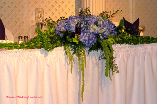 Wedding bridal bouquet of blue Delphinium in the hands of