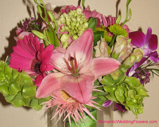 pink asiatic lily gerbera bouquet