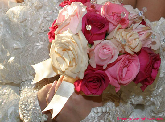 pink roses and crystal bouquet