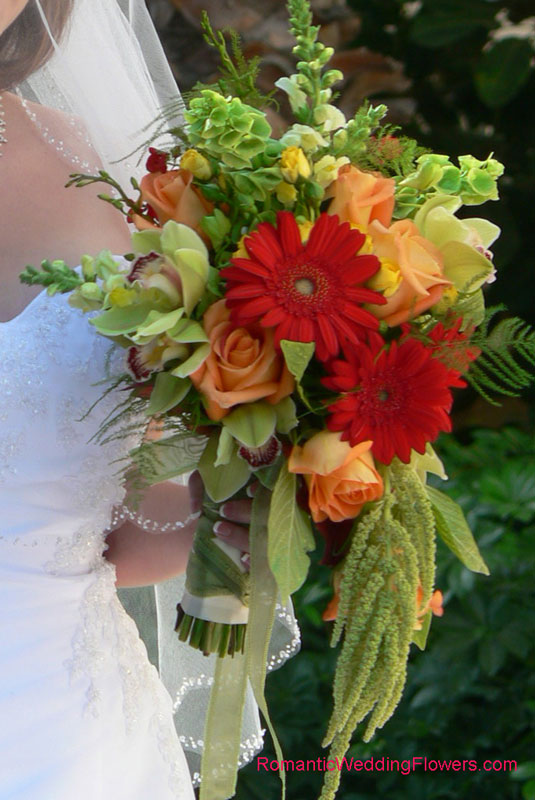 red gerberas orange roses green amaranthus