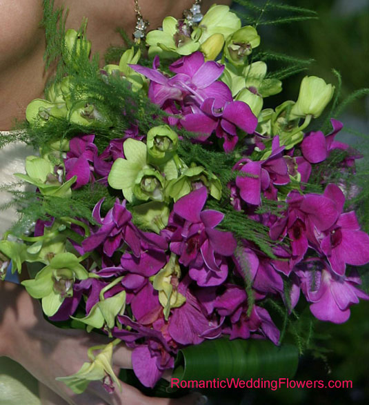 green purple dendrobium orchid bouquet