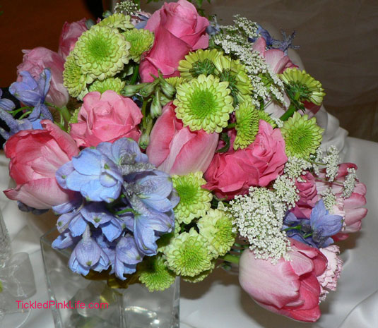 pink tulip delphinium green button mum bouquet