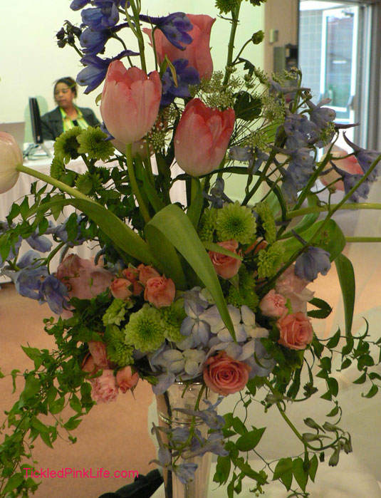 pink tulips green button mums silver trumpet vase