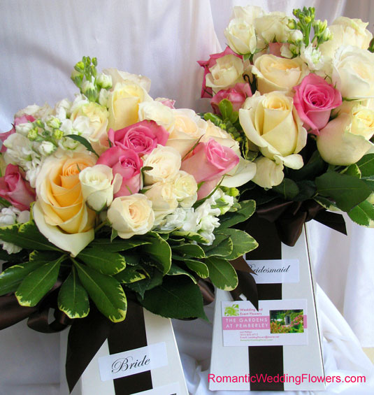 pink rose and white stock bouquets