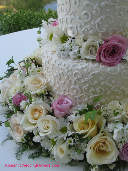 roses and spray asters around cake
