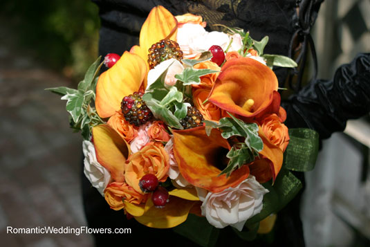 orange calla ivy bouquet