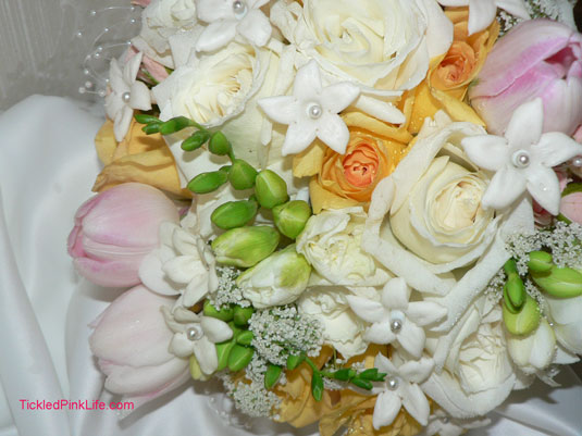 pink tulip yellow rose stephanotis bouquet