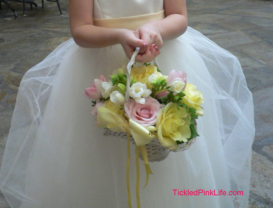 pink yellow roses flower girl basket