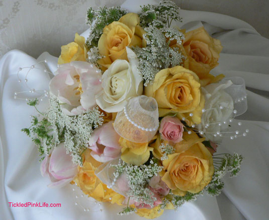 yellow roses pink tulips bridesmaid bouquet