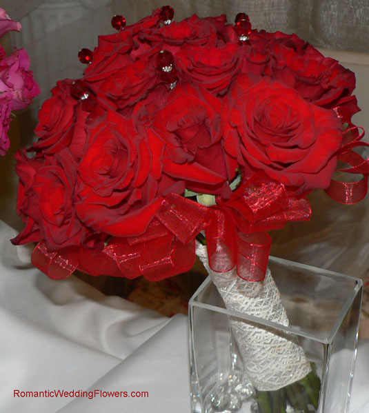 red Charlotte rose crystal bouquet stems