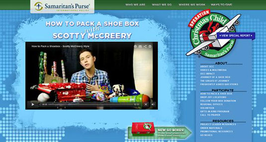 Operation Christmas Child web page