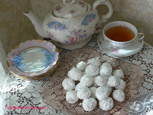 powdered sugar pecan melts limoges tea cup plates