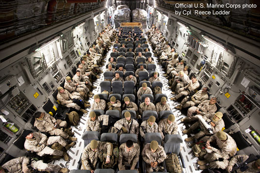 US Marines on transport plane