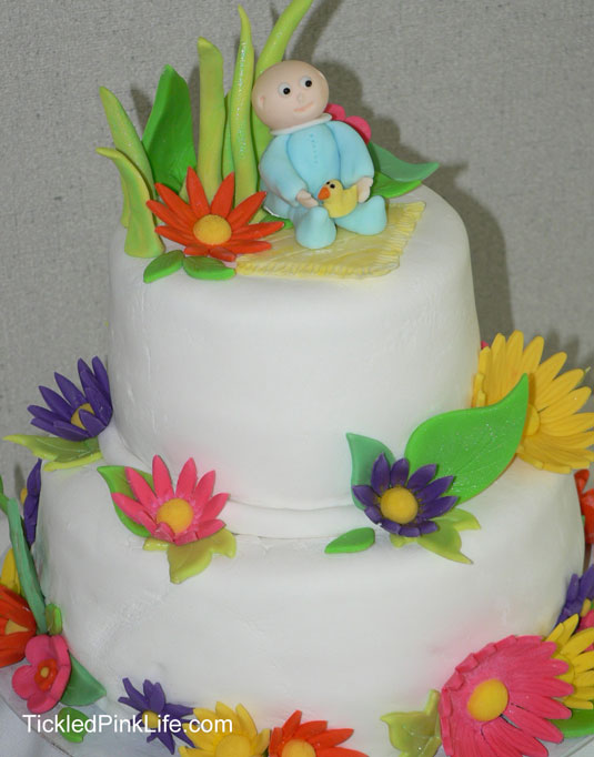 baby shower cake fondant flowers