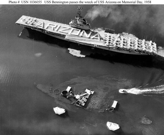 USS Bennington USS Arizona Memorial Day 1958