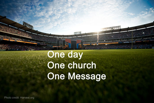 Harvest America one day one church one message Greg Laurie