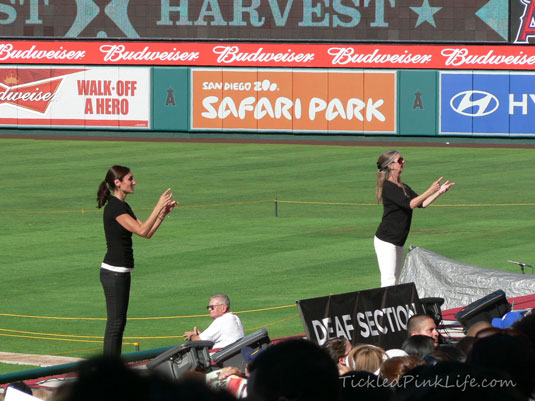 Signing for the hearing impaired Harvest America 2012 Angel Stadium