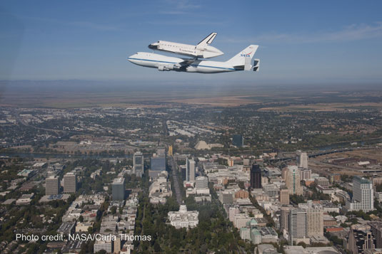 Endeavour shuttle California State Capitol