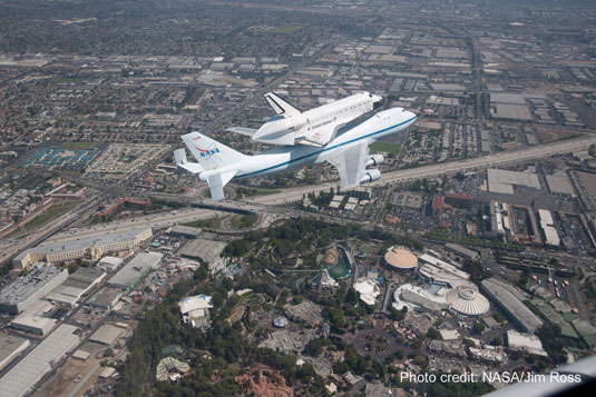 shuttle Endeavour over Disneyland