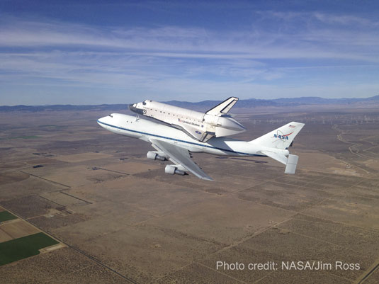 shuttle Endeavour over California