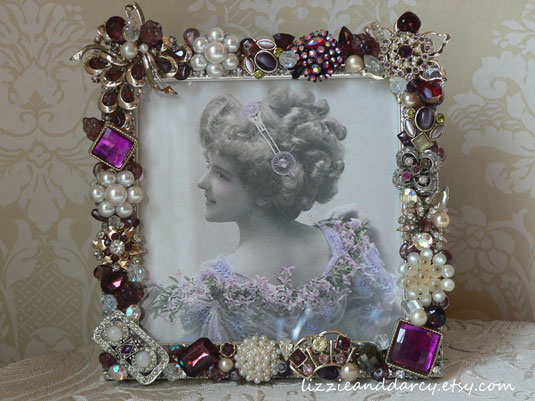 vintage jewelry picture frame purple
