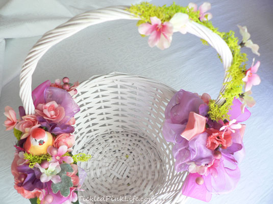 Diy custom bird nest easter baskets a third basket focused on colors of soft pink sage green and pearly white mightylinksfo