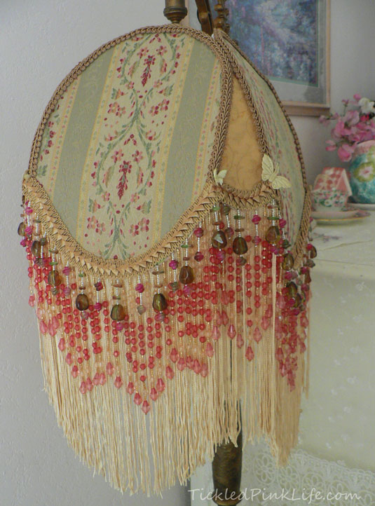 Victorian beaded fringe lampshade