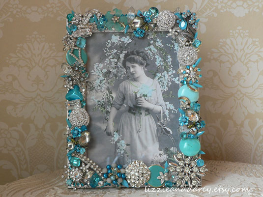 Vintage Jewelry Picture Frame Tiffany Blue Silver